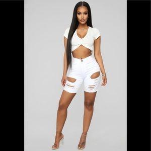 FASHION NOVA Off White Shorts